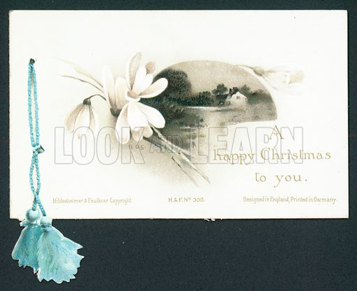 White Snowdrop and house by lake, Christmas Card