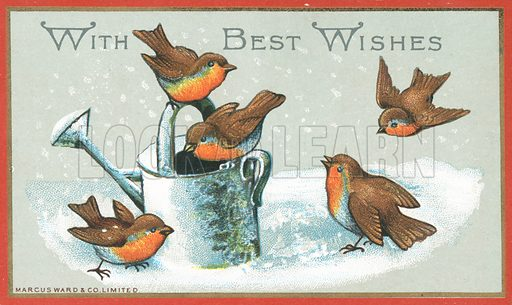 Five Robins and Watering Can, Christmas Card