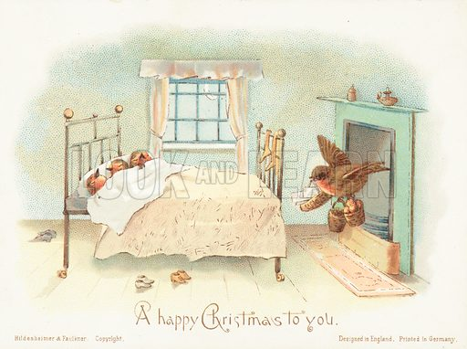 Robins asleep in bed! Christmas Card.