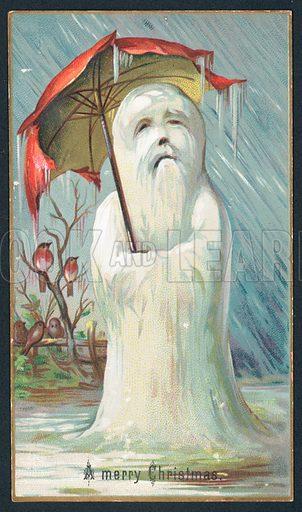 Shivering Snowman under umbrella, Christmas Card