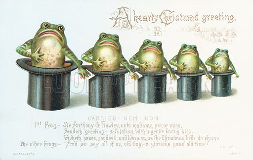 Frogs standing in Top Hats! Christmas Card.