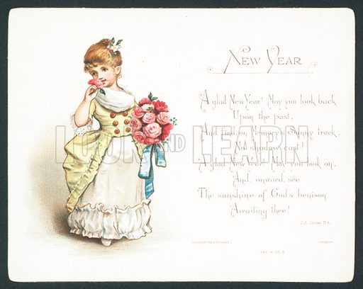 Girl smelling roses, New Year Card.