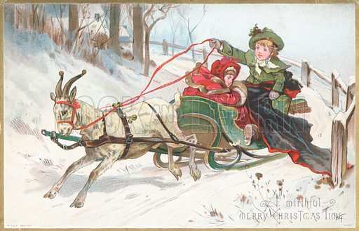 goat pulling sleigh christmas card look and learn history picture