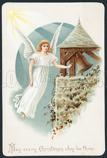 Angel hovering next to church bell, Christmas Card.