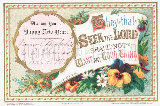 Flowers and Psalm, New Year Card