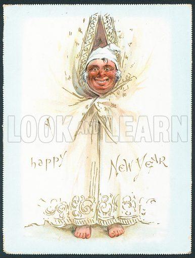 Man peeking through curtains, New Year Card