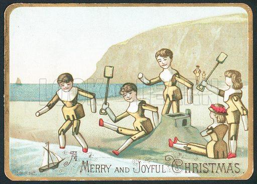 Toys Playing On Beach, Christmas Card