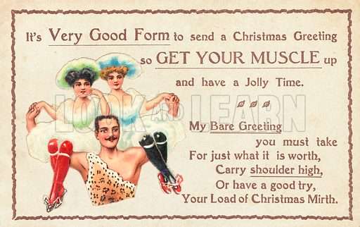 Muscle Man carrying Floozies on shoulder, Christmas Card.