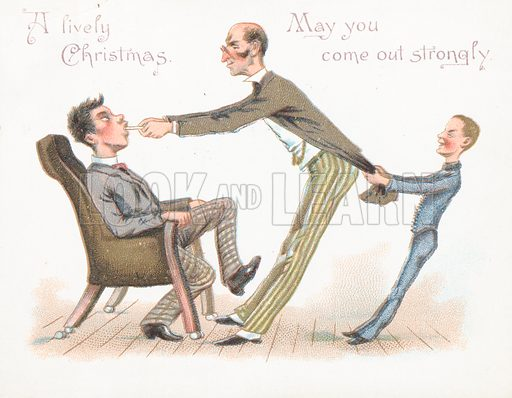Man pulling boy's tooth, Christmas Card.