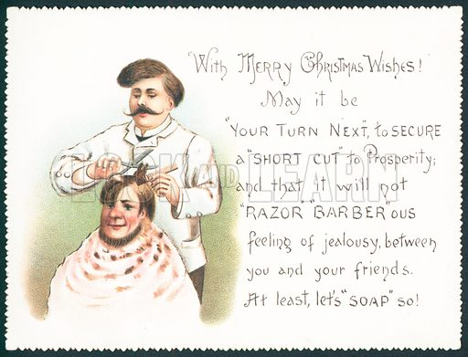 Barber Cutting Hair, Christmas Card