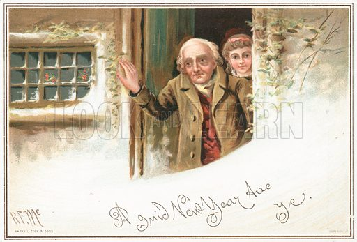 Man and girl looking out of front door at snow, New Year Card