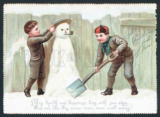 Boys building Snowman, Christmas Card