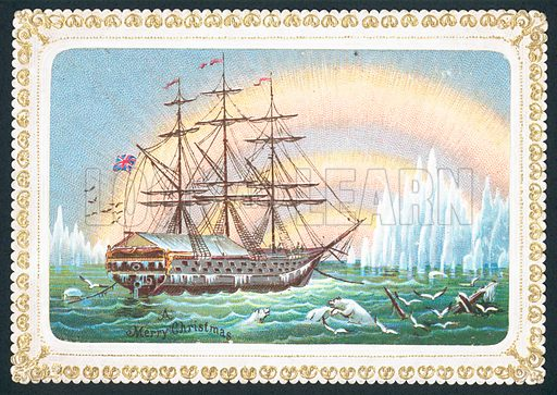 Sailing Ship in icy waters, Christmas Card