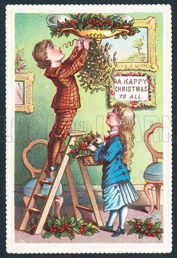 Hanging-up the mistletoe, Christmas Card