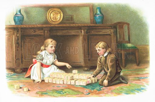 Children playing with building blocks on floor, Christmas Card.