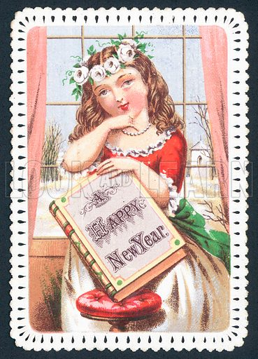 Girl holding book, New Year Card