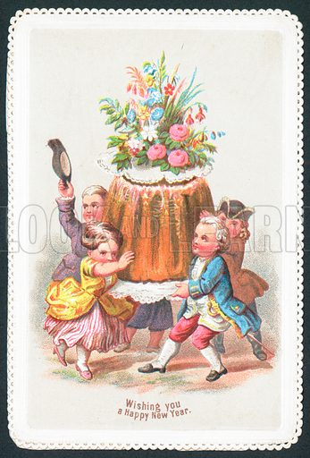 Child aristocrats carrying pudding, New Year Card