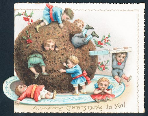 Urchins playing with Plum Pudding, Christmas Card