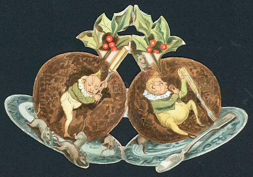 Two Plum Puddings, Christmas Card