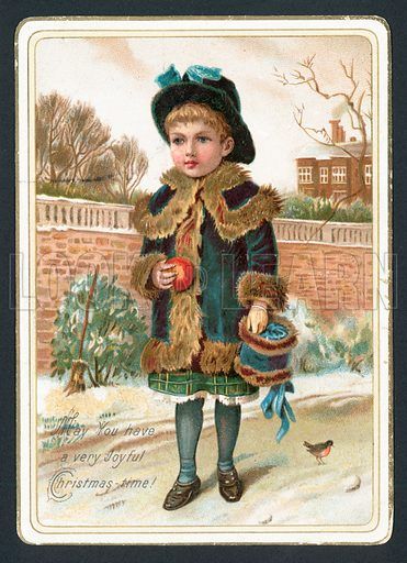 Young Girl holding fur muff and apple, Christmas Card.