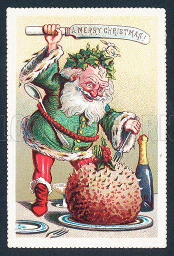 Father Christmas cutting into Plum Pudding, Christmas Card