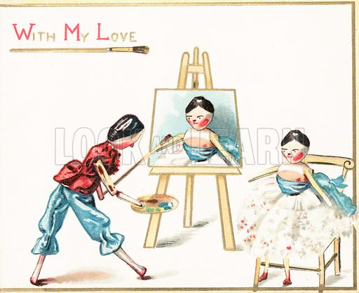 Wooden Doll Painting, Christmas Card.