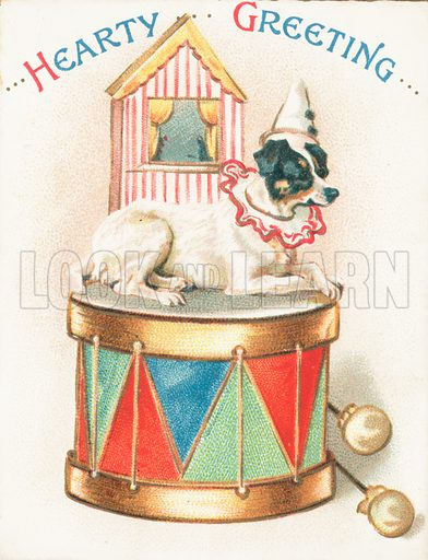 Clown Dog on Toy Drum, Christmas Card.