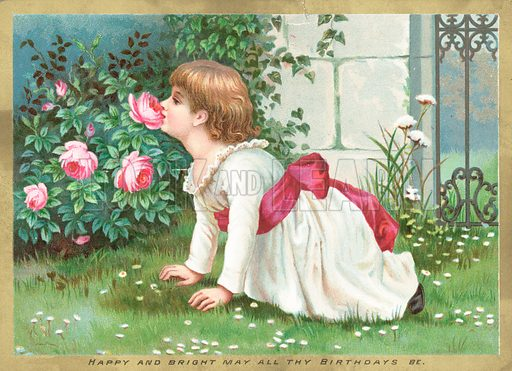 Girl smelling flowers, Birthday Card