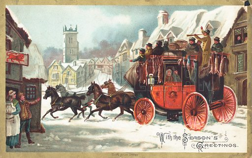 Stage Coach in the snow, Christmas Card.