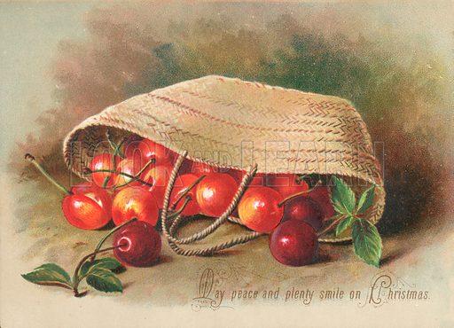 Basket of Cherries, Christmas Card