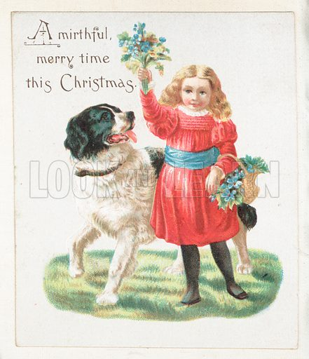 Girl Teasing Dog With Flowers Christmas Card Stock Image Look