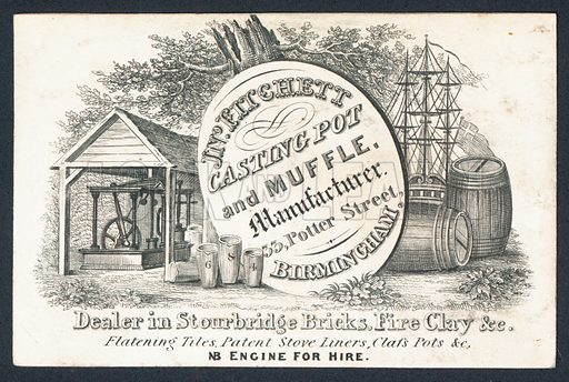 J N Fitchett, Casting Pot and Muffle Manufacturer, trade card.