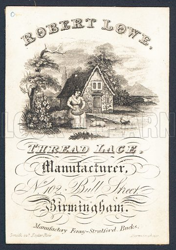 Robert Lowe, thread lace manufacturer, trade card. Engraved by Smith, Exeter Row, Birmingham.