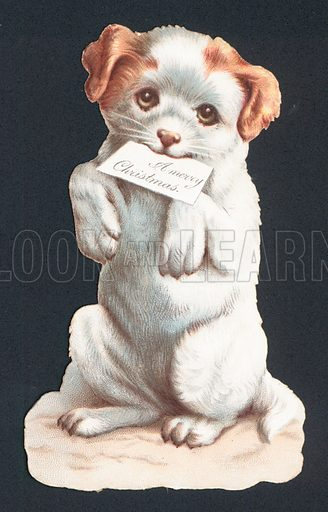 Christmas card with puppy carrying card