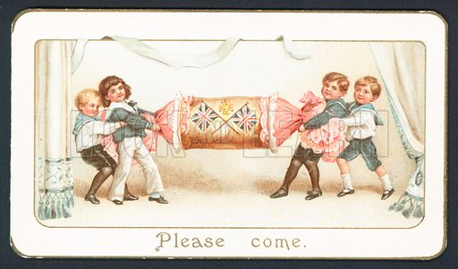 Christmas card with children pulling a cracker