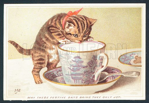 Victorian Christmas card with kitten drinking from teacup