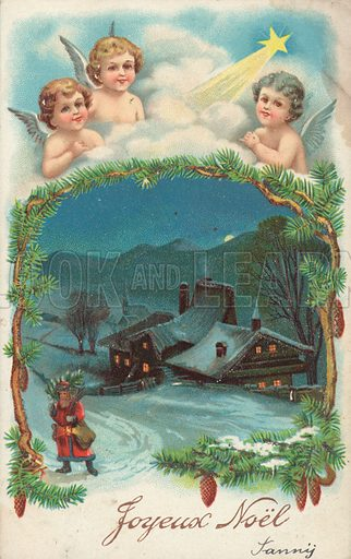 French Christmas card with cherubs looking down on a snowy landscape with Father Christmas.