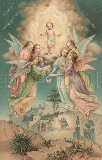 Christmas card, with angels surrounding Jesus Christ, while below the figures of Mary and Joseph can be seen with a donkey.