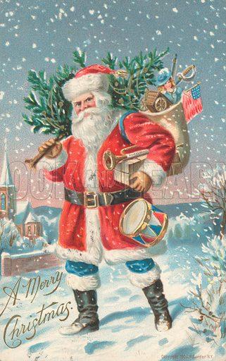 American Christmas card, Father Christmas carrying a Christmas tree and his sack of gifts.