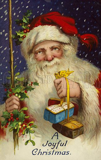 A Joyful Christmas, featuring Father Christmas carrying Christmas gifts.