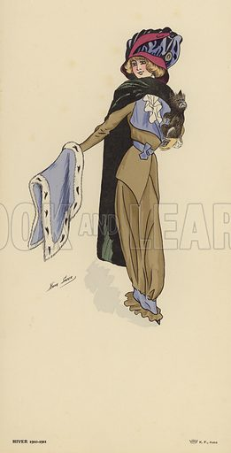 Full-length image of a woman, wearing winter fashions from the 1910-1911 season. Drawn by Xavier Sager.