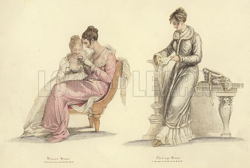 Dinner dress (left), and carriage dress. Published in Miroir de la Mode, circa 1805.