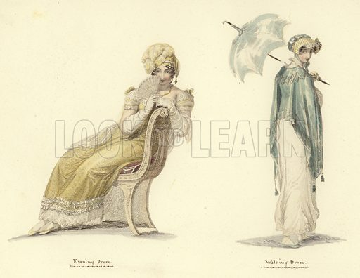 An evening dress (left), and a walking dress, both of 1813. Published in Miroir de la Mode, circa 1810.