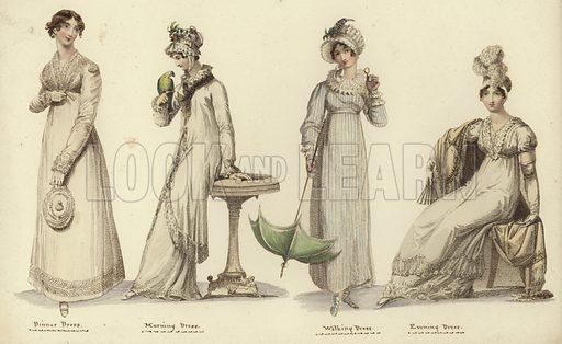 Dinner dress (left), morning dress (second left), walking dress (second right) and evening dress, all from 1815. Published in Miroir de la Mode, circa 1815.