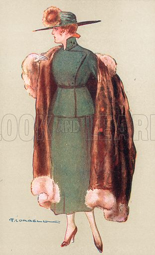 Full-length image of a woman wearing a green two-piece costume with a green wide-brimmed hat, with a fur coat draped over her shoudlers. Drawn by Tito Corbella.