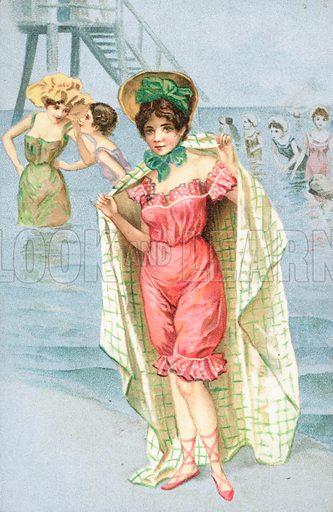 A woman wearing a bathing costume