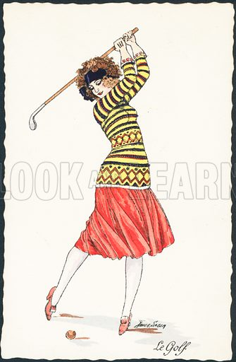 A woman in full swing playing golf