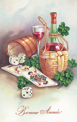 French New Year card, with a bottle of wine, three dice and four-leaf clovers, and the legend,