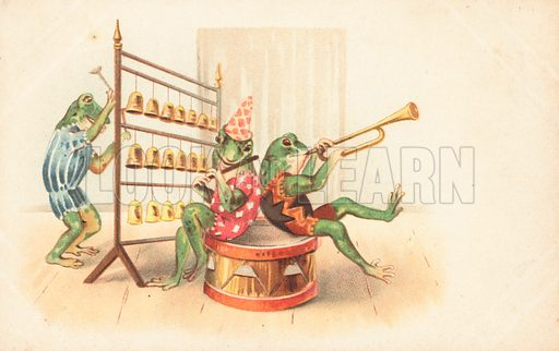 A group of musical frogs