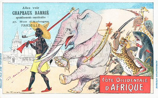 West Coast of Africa. A line of animals led by a man in traditional costume, in advertisement for Chapeaux Barrie, 37 Rue d